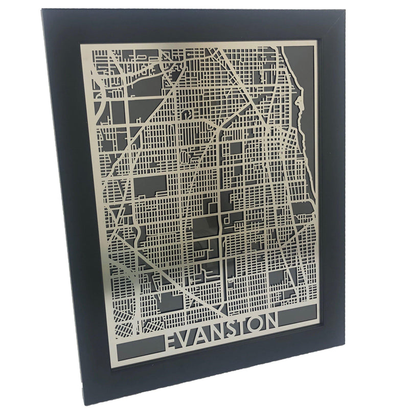 "Evanston - Stainless Steel Map - 11"" x 14"""