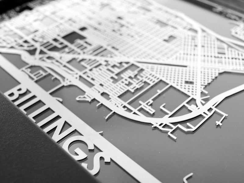 "Billings - Stainless Steel Map - 5""x7"""