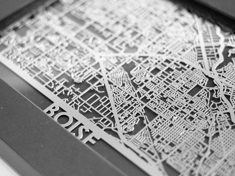 "Boise - Stainless Steel Map - 5""x7"""