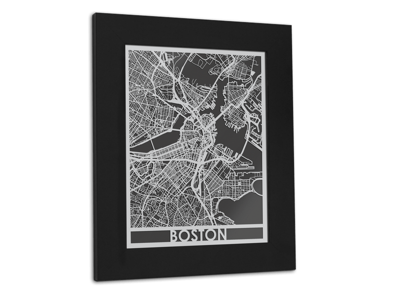 "Boston - Stainless Steel Map - 11"" x 14"" - Cool Cut Map Gift"