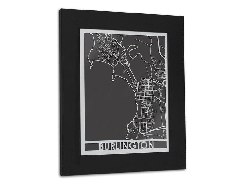 "Burlington - Stainless Steel Map - 5""x7"" - Cool Cut Map Gift"