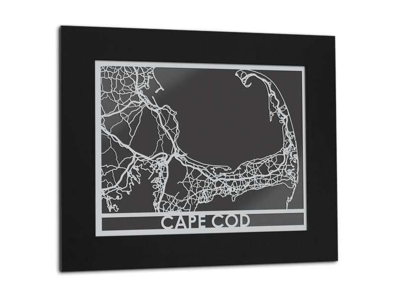"Cape Cod - Stainless Steel Map - 11"" x 14"" - Cool Cut Map Gift"