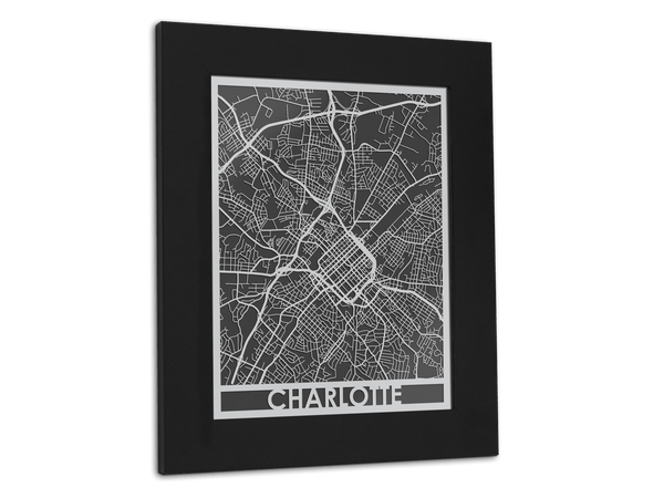 "Charlotte - Stainless Steel Map - 11"" x 14"" - Cool Cut Map Gift"