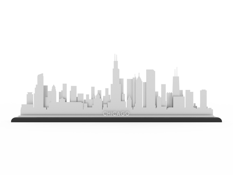 Chicago Stainless Steel Skyline - Cool Cut Map Gift