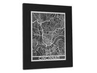 "Cincinnati - Stainless Steel Map - 11"" x 14"" - Cool Cut Map Gift"