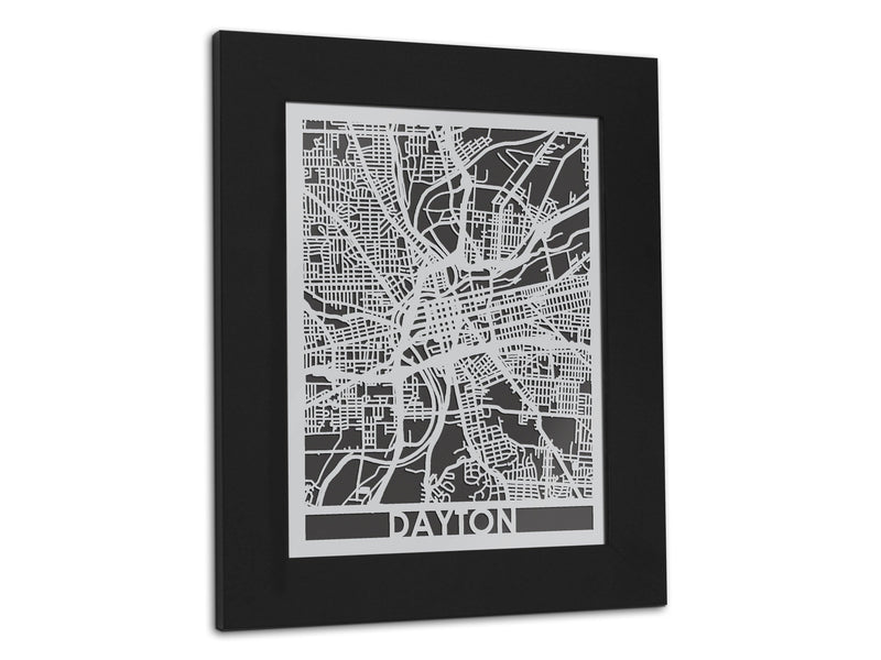 "Dayton - Stainless Steel Map - 5""x7"" - Cool Cut Map Gift"
