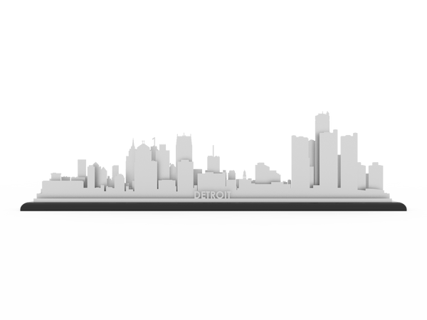 Detroit Stainless Steel Skyline - Cool Cut Map Gift