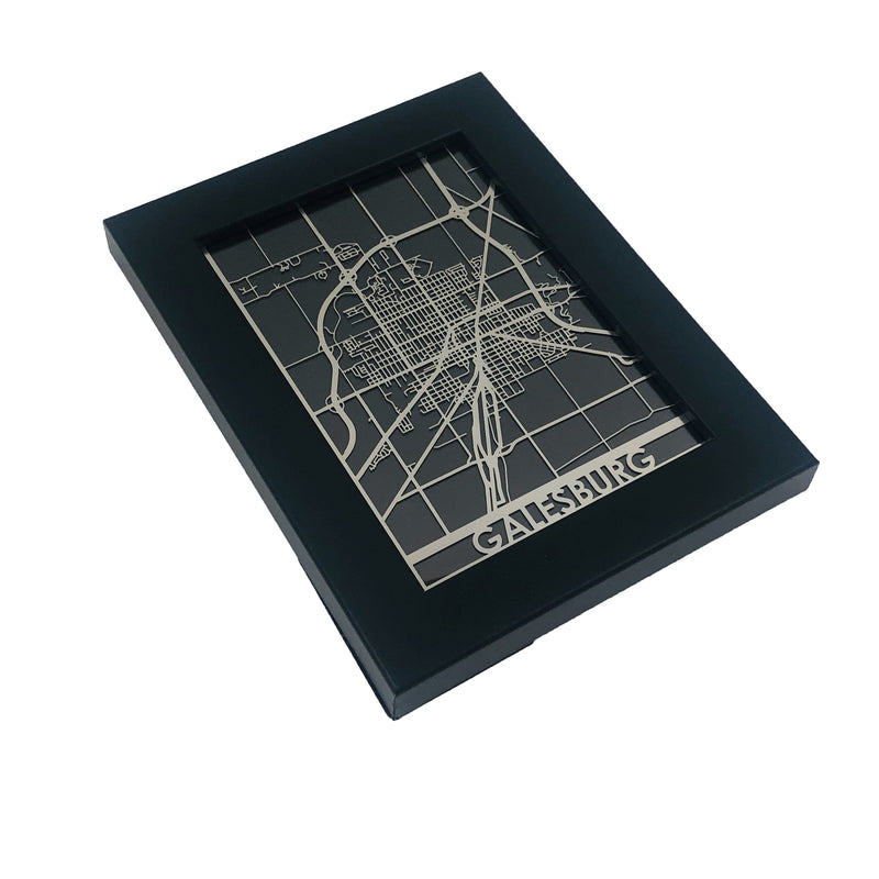 "Galesburg - Stainless Steel Map - 5""x7"""