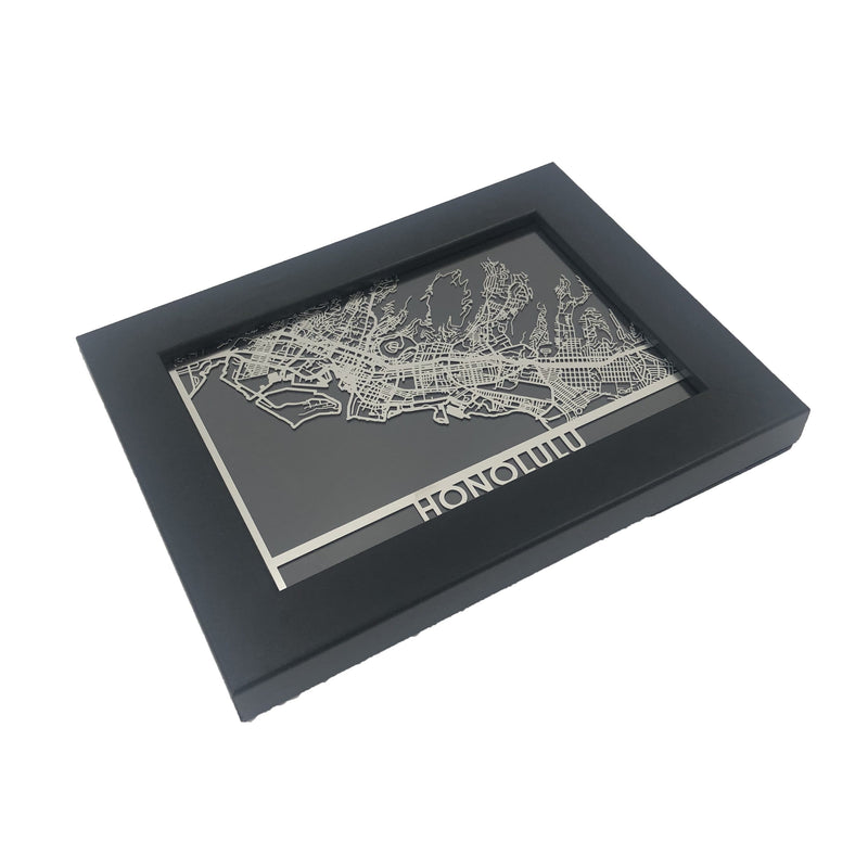 "Honolulu - Stainless Steel Map - 5""x7"""