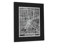 "Houston - Stainless Steel Map - 11"" x 14"" - Cool Cut Map Gift"
