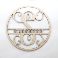 Wooden Circle Vine Monogram Initial & Family Name