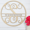 Wooden Circle Vine Monogram Initial & Family Name - Metal Unlimited