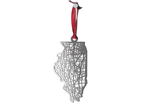 Illinois Ornament - Cool Cut Map Gift