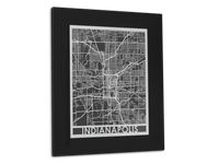 "Indianapolis - Stainless Steel Map - 11"" x 14"" - Cool Cut Map Gift"