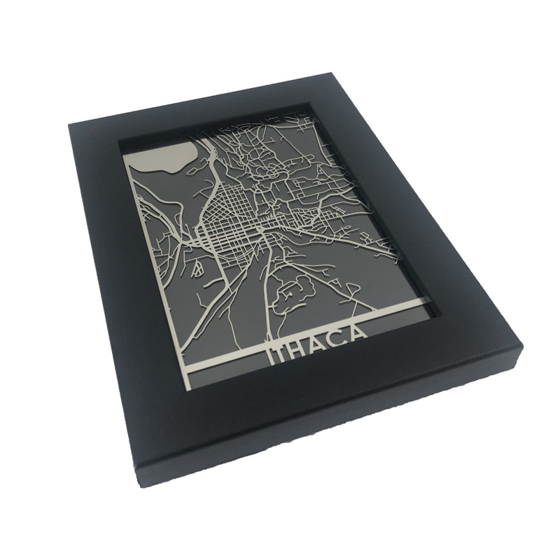"Ithica - Stainless Steel Map - 5""x7"""