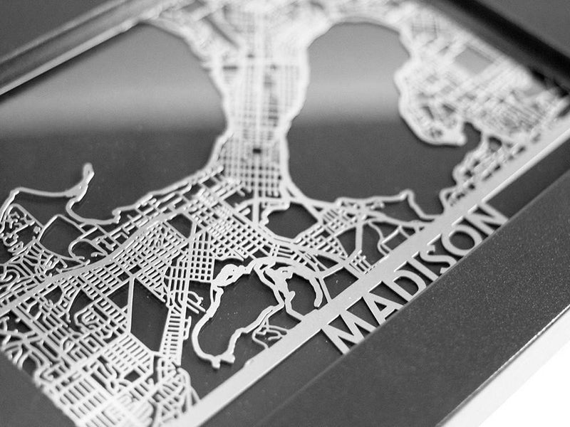 "Madison - Stainless Steel Map - 5""x7"""