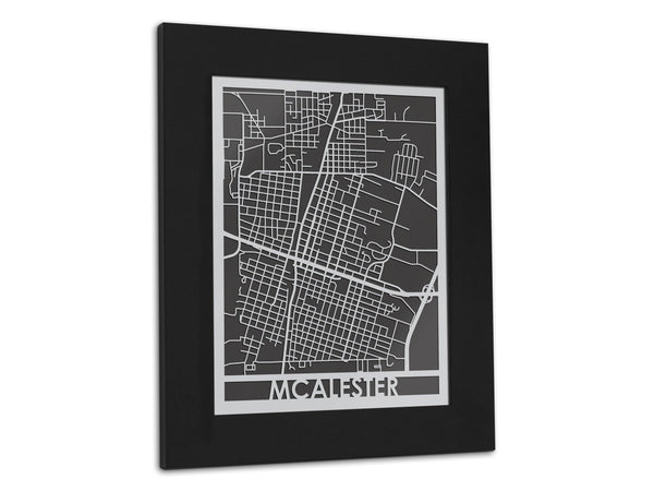 "McAlester - Stainless Steel Map - 11"" x 14"" - Cool Cut Map Gift"