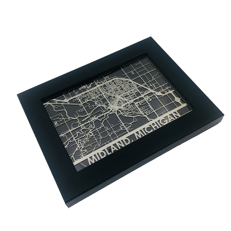 "Midland, MI - Stainless Steel Map - 5""x7"""