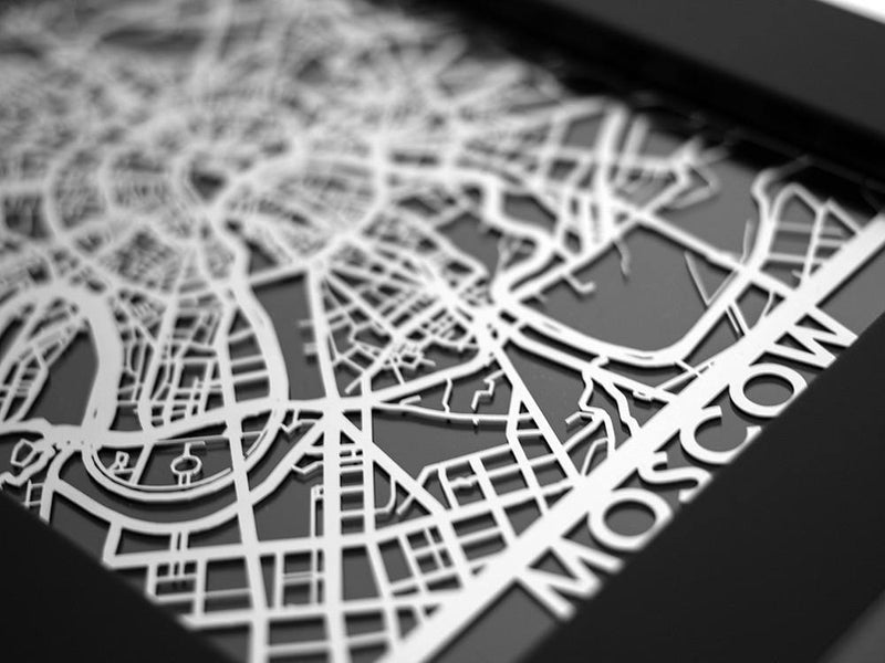 "Moscow - Stainless Steel Map - 5""x7"" - Metal Unlimited"