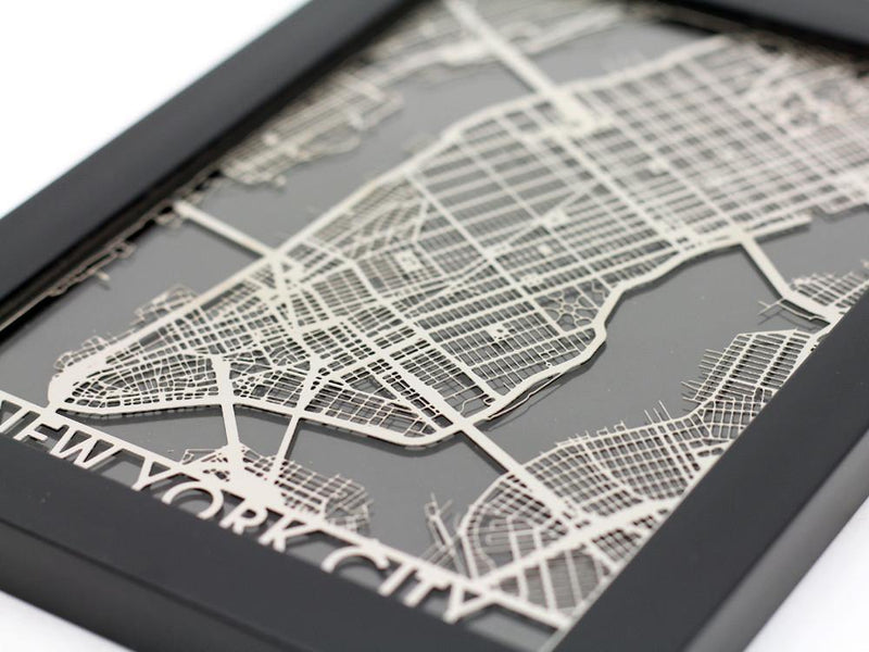 "New York City - Stainless Steel Map - 5""x7"""