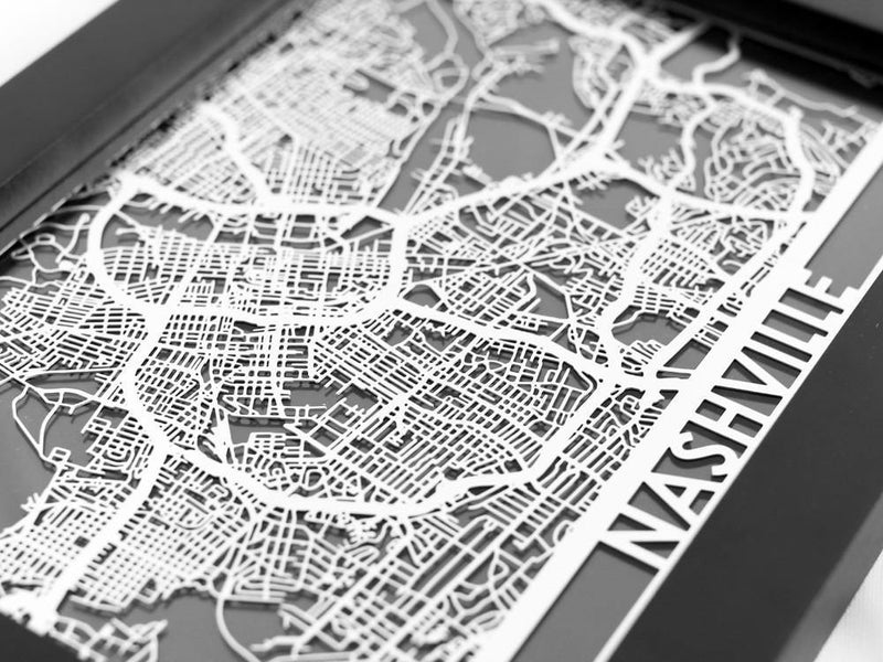 "Nashville - Stainless Steel Map - 5""x7"" - Metal Unlimited"