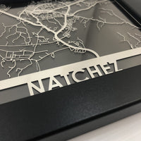 "Natchez, MS - Stainless Steel Map - 5""x7"""