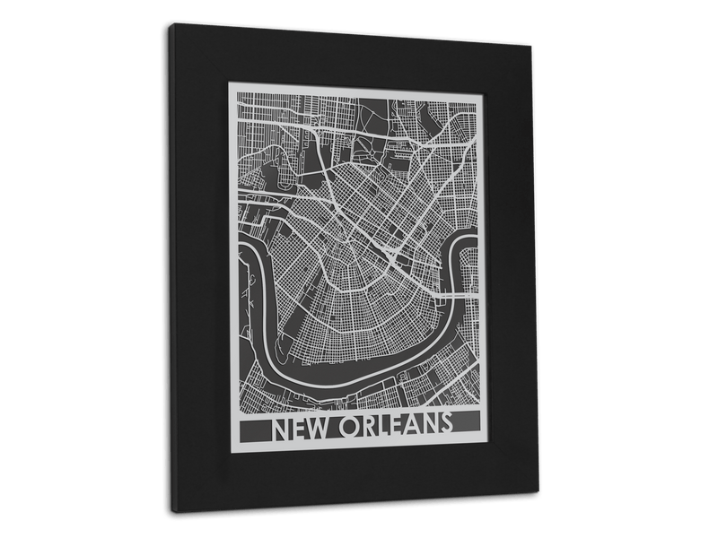 "New Orleans - Stainless Steel Map - 11"" x 14"" - Cool Cut Map Gift"