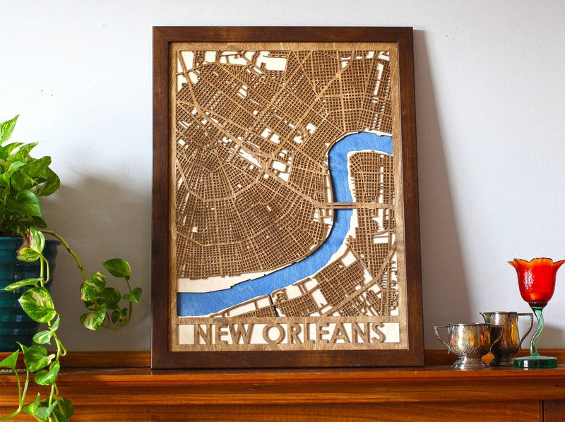 "18""x24"" New Orleans 3 Layer Map - Metal Unlimited"