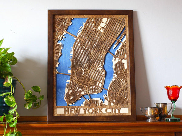 "18""x24"" New York City 3 Layer Map"