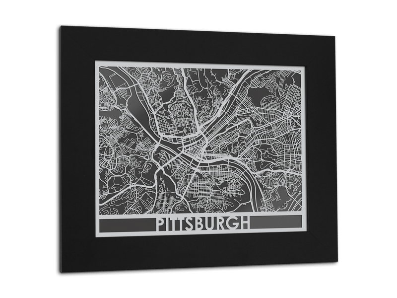 "Pittsburgh - Stainless Steel Map - 11"" x 14"" - Cool Cut Map Gift"