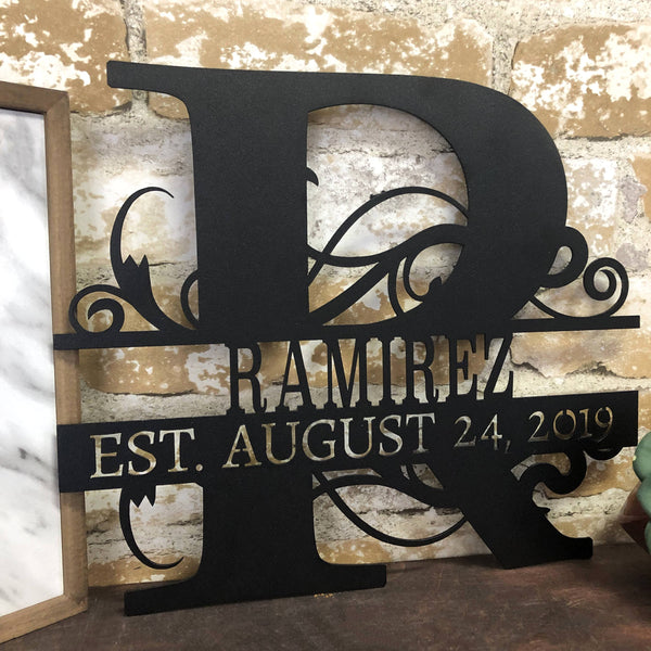 Split Letter Monogram Date Sign