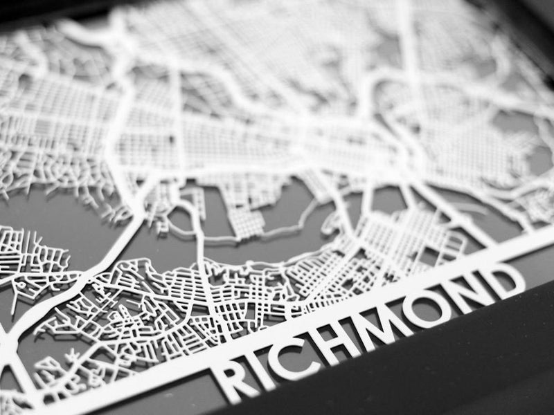 "Richmond - Stainless Steel Map - 5""x7"" - Metal Unlimited"