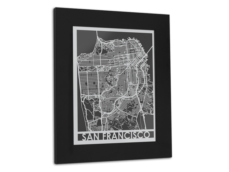 "San Francisco - Stainless Steel Map - 11"" x 14"" - Cool Cut Map Gift"