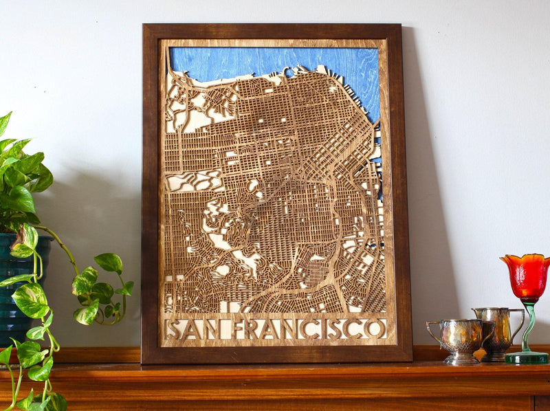 "18""x24"" San Francisco 3 Layer Map - Metal Unlimited"