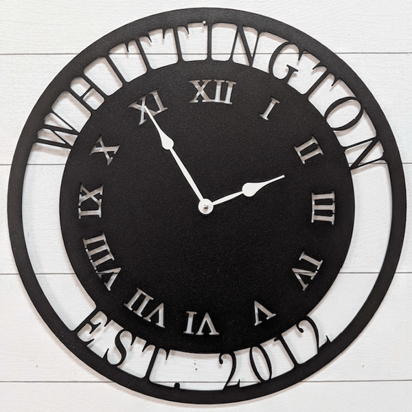 Personalized Metal Clock (Roman Numerals)
