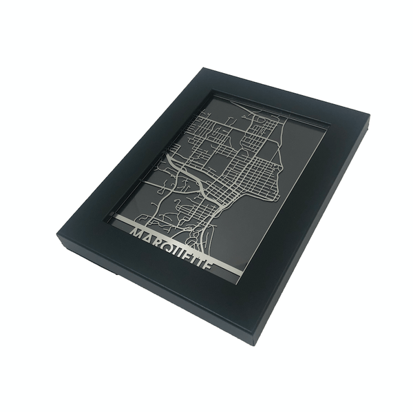 "Marquette - Stainless Steel Map - 5""x7"""