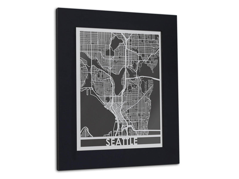 "Seattle | Stainless Steel Map | 11"" x 14"" - Cool Cut Map Gift"