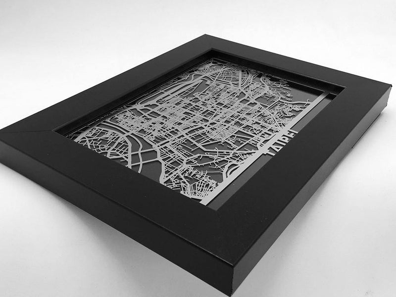 "Taipei - Stainless Steel Map - 5""x7"" - Metal Unlimited"