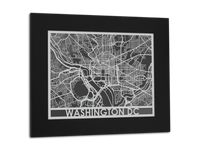 "Washington DC - Stainless Steel Map - 11"" x 14"" - Cool Cut Map Gift"