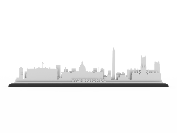 Washington DC Stainless Steel Skyline - Cool Cut Map Gift