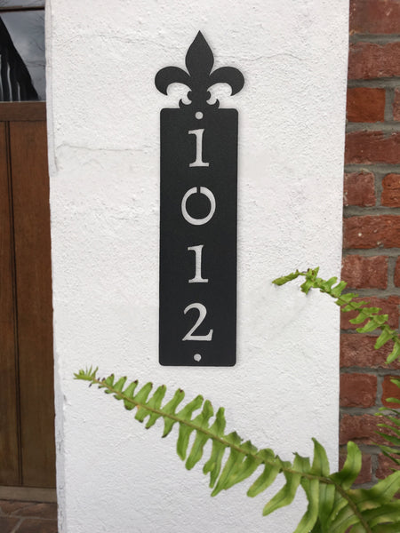 Fleur de Lis Vertical Address Sign