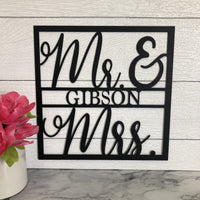Mr and Mrs Square Sign