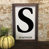 Simple Family Name and Initial Farmhouse Print