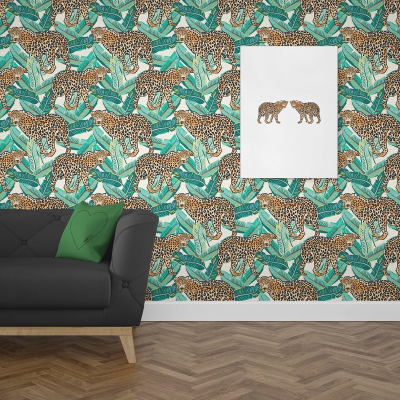Jungle Leopard Banana Leaf - Metal Unlimited