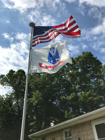 Flagpoles in PA with blue sky