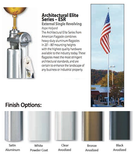 An illustrated description of all the finish options to the pole as well as an image of a finished flagpole