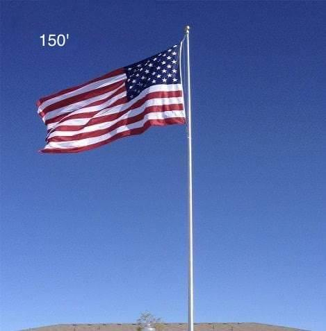 150ft Commercial Steel Flagpole - Internal Halyard - Silver Finish