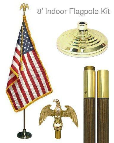 8' Indoor U.S. Flagpole Kit