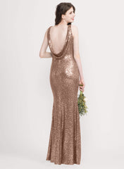 Sloane Sequin Bridesmaid Dress Rose Gold