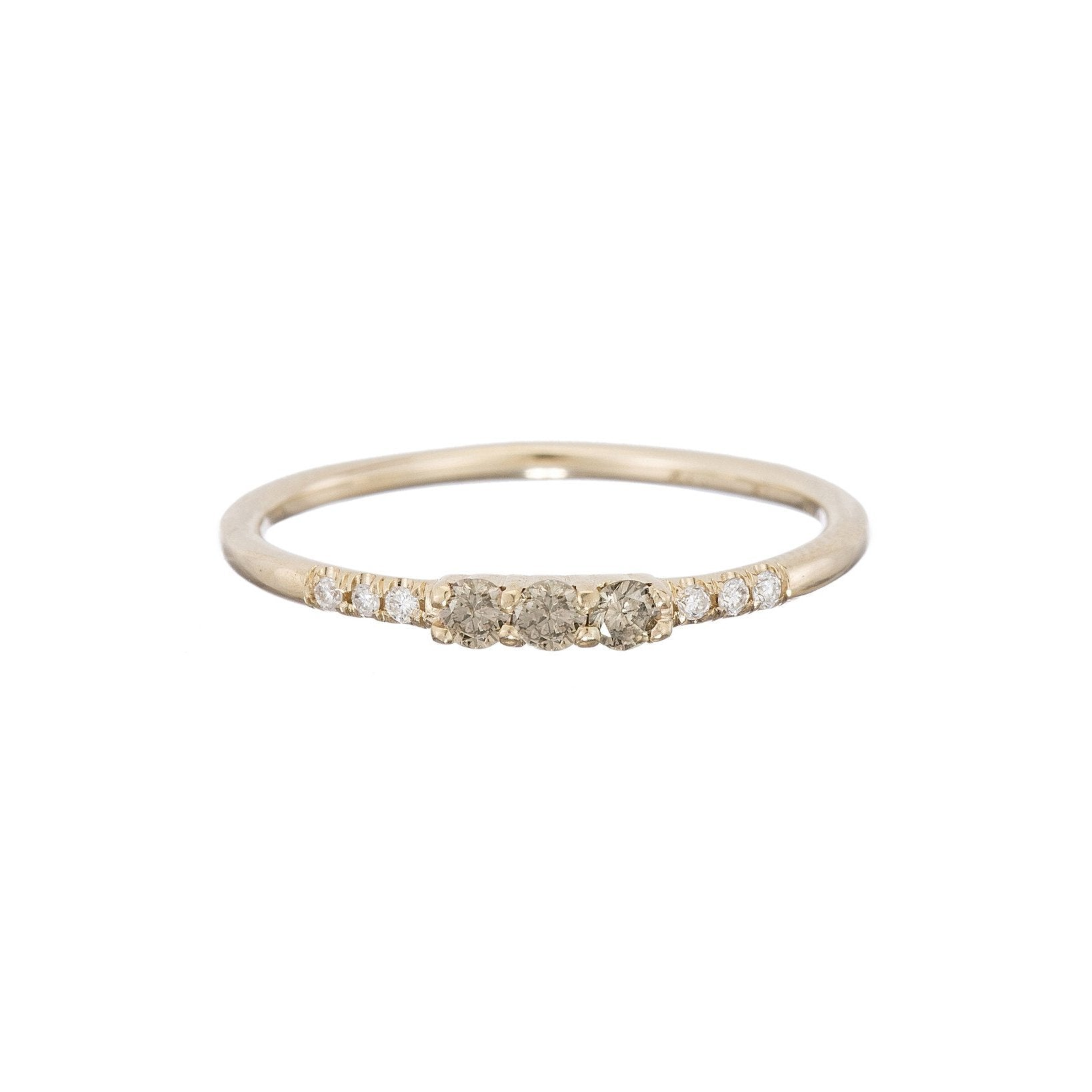 3 Champagne Diamond Equilibrium Ring
